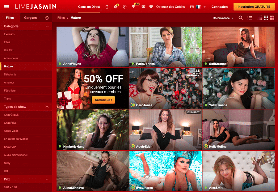 Site de webcam mature LiveJasmin